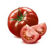 Whole tomato and two quarters  on white Stock Image