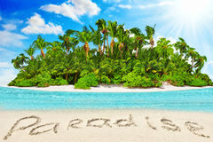Whole tropical island within atoll in Indian Ocean. Stock Photo