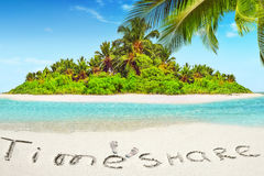 Whole tropical island within atoll in tropical Ocean and inscrip Stock Photos