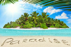 Whole tropical island within atoll in tropical Ocean and inscrip Royalty Free Stock Photography