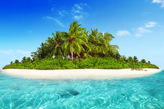 Whole tropical island within atoll in tropical Ocean. Stock Image