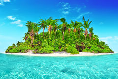Whole tropical island within atoll in tropical Ocean. Royalty Free Stock Image