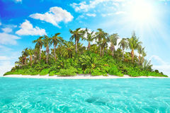 Whole tropical island within atoll in tropical Ocean. Royalty Free Stock Photos