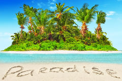 Whole tropical island within atoll in tropical Ocean  Stock Photo