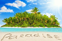 Whole tropical island within atoll in tropical Ocean  Stock Image