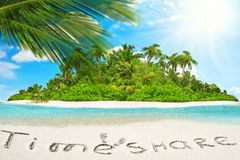 Whole tropical island within atoll in tropical Ocean  Stock Photos