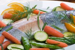 Whole trout baked with dill sa Royalty Free Stock Image