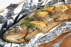 Whole Trout en Papillote Stock Photos