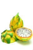 Whole and two half of dragon fruit Stock Image