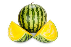 Whole and two sliced Pieces of fresh Watermelon Stock Photos