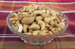 Whole Unsalted Cashews Dish Plaid Cloth Royalty Free Stock Photography