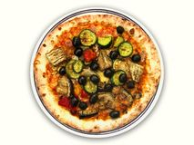 Whole vegetarian pizza pie on white. Vegetarian pizza hot from the oven with Italian mozzarella cheese, tomato and with mixed vegetable topping of olives Royalty Free Stock Photos