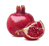 Whole vertical pomegranate quarter isolated on white Royalty Free Stock Photography