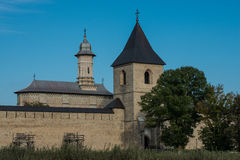 Whole view of Dragomirna monastery with one tower. In Bukovina, (Bucovina), Moldavia (Moldova Stock Photo