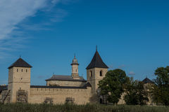 Whole view of Dragomirna monastery with two towers. In Bukovina, (Bucovina), Moldavia (Moldova Royalty Free Stock Images
