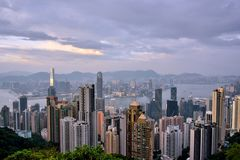 Whole view of Hongkong Victoria harbor, 2016. View of Hongkong urban and Victoria harbor from Taiping peak, 2016, Hongkong is a developing economy center in Asia Royalty Free Stock Photos