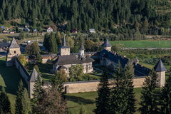 Whole view of Sucevița monastery. In Bukovina, (Bucovina), Moldavia (Moldova Stock Photo