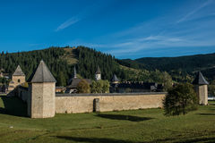 Whole view of Sucevita monastery's defence wall. In Bukovina, (Bucovina), Moldavia (Moldova Royalty Free Stock Image