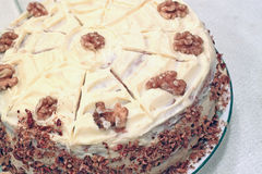 Whole Walnut Cake Stock Photo