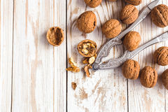 Whole walnuts background. Close up, top view. Stock Photos