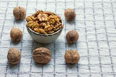 Whole walnuts and walnut kernels in small bowl on checkered background stock images