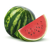 Whole watermelon and slice  on white background Stock Images