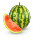Whole watermelon with slice Royalty Free Stock Image