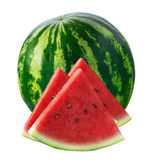 Whole watermelon and three triangle pieces isolated on white royalty free stock image