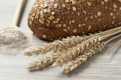 Whole weat bread,dried wheat and flour Stock Image