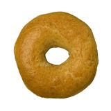 Whole Wheat Bagel Against White Stock Image