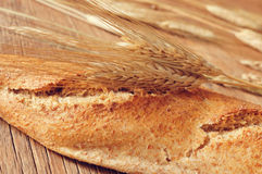 Whole wheat baguette. Closeup of a whole wheat baguette and some ears of wheat on a rustic wooden table Stock Image