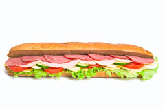 Whole wheat baguette sandwich Stock Image
