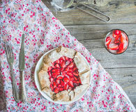 Whole wheat biscuit with fresh strawberry, pie, dessert, top vie Stock Photo