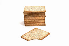 Whole wheat biscuits. Isolated on white Royalty Free Stock Image