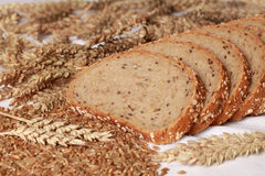 Whole wheat bread. Cut on slices stock image