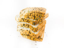 Whole wheat bread. On white background stock photo