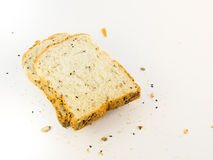 Whole wheat bread. On white background royalty free stock image