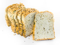 Whole wheat bread. On white background stock images