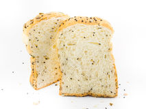 Whole wheat bread. On white background royalty free stock photography