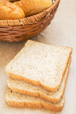 Whole wheat bread with basket Stock Photography