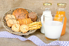 Whole wheat bread and biscuits in breakfast set Royalty Free Stock Images