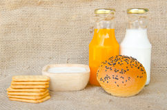 Whole wheat bread and biscuits in breakfast set Royalty Free Stock Photography