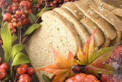 Whole Wheat Bread with Fall Setting Stock Images