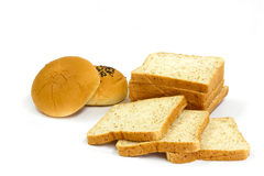 Whole wheat bread and filled bun Royalty Free Stock Photography
