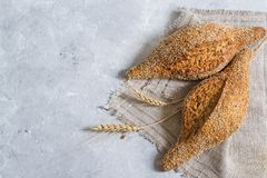 Whole wheat bread with flaxseeds royalty free stock photos
