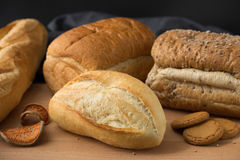 Whole wheat bread and French baguette Royalty Free Stock Photo
