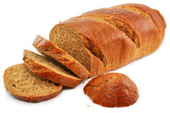 Whole wheat bread isolated. On a white background Royalty Free Stock Photos