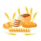 Whole wheat bread. Isolated on white background. template element for restaurant menu. vector illustration in flat design stock illustration