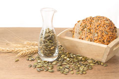Whole wheat bread with  pumpkin seed Stock Images