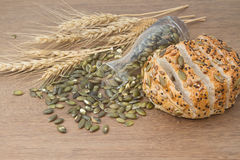 Whole wheat bread with  pumpkin seed Royalty Free Stock Photos